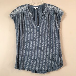 Lucky Brand Woven & Embroidered Cap Sleeve Top
